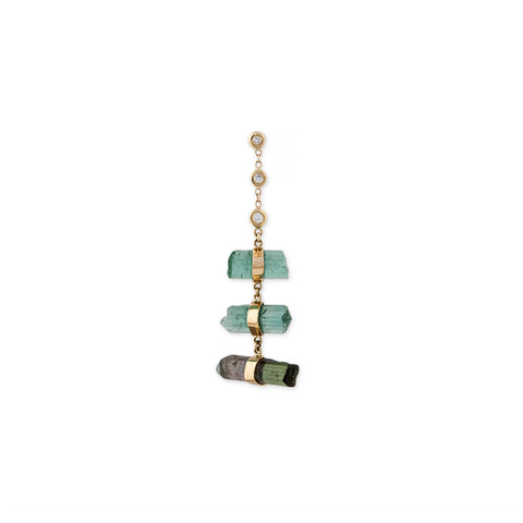 3 DIAMOND GREEN TOURMALINE CRYSTAL BAR STEP STUD