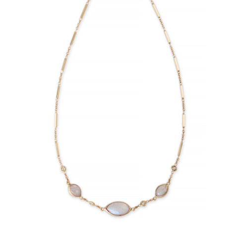 GRADUATED MARQUISE MOONSTONE DIAMOND NECKLACE