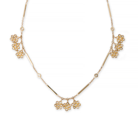 3X3 DIAMOND FLOWER CHARM NECKLACE