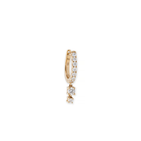 GRADUATED DIAMOND PAVE DIAMOND MINI HOOP