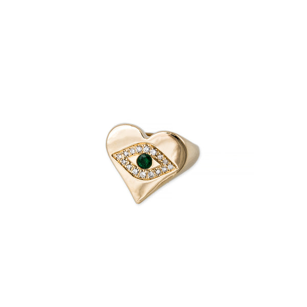 EMERALD CENTER PAVE EYE HEART SHAPE RING