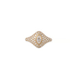 LARGE MARQUISE DIAMOND PAVE SIGNET RING