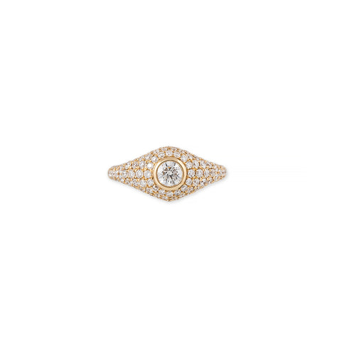 LARGE ROUND DIAMOND PAVE SIGNET RING