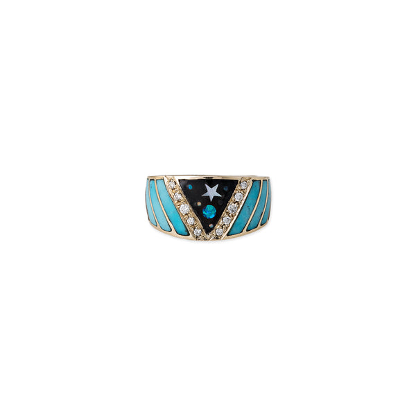 GALAXY CHEVRON OPAL INLAY RING