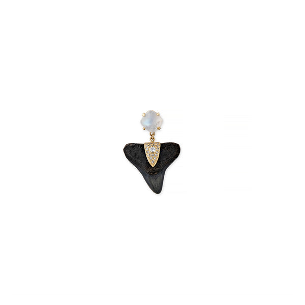 PAVE DIAMOND MOONSTONE SHARK TOOTH STUD EARRING
