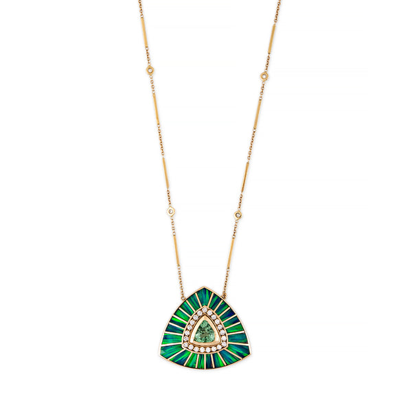 PAVE GREEN TOURMALINE + OPAL LARGE INLAY VORTEX NECKLACE