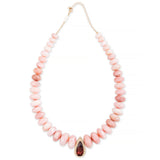 PAVE PINK TOURMALINE TEARDROP CENTER PINK OPAL BEADED NECKLACE