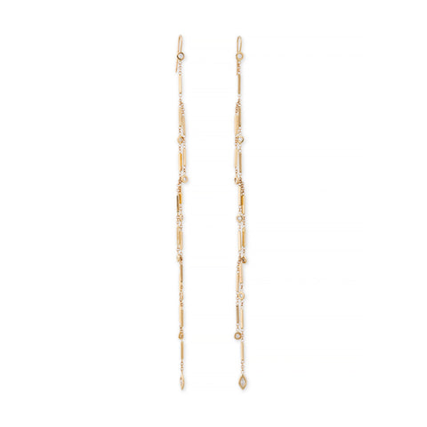 MARQUISE + ROUND DIAMOND SHOWER SMOOTH BAR EARRINGS