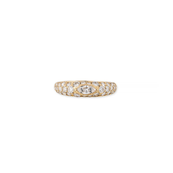 MARQUISE CENTER PAVE DIAMOND DOME RING