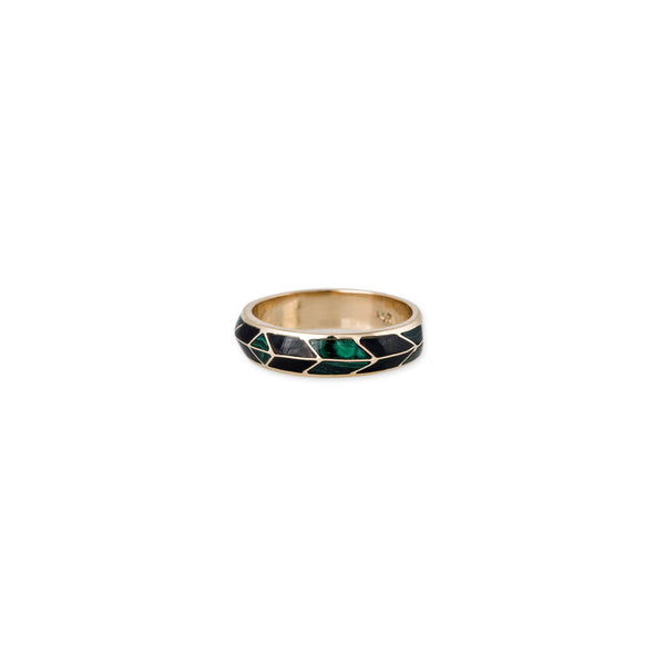 ONYX + MALACHITE CHEVRON RING