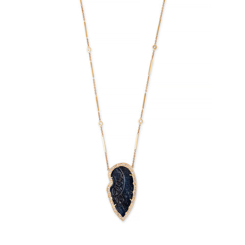 PAVE CARVED SAPPHIRE WING SMOOTH BAR NECKLACE