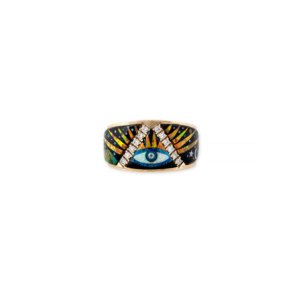 PAVE EYE BURST GALAXY OPAL INLAY RING