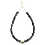 PAVE GREEN TOURMALINE RECTANGLE CENTER BLACK OPAL BEADED NECKLACE