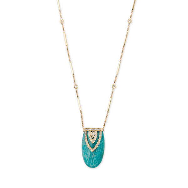 AMAZONITE ALADDIN TEARDROP DIAMOND CAP NECKLACE