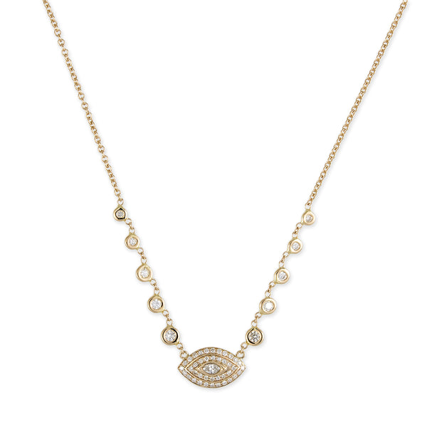 DOUBLE HALO MARQUISE EYE EMILY NECKLACE