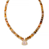 PAVE OPAL TRILLION CENTER GRADUATED OPAL BEADED NECKLACE