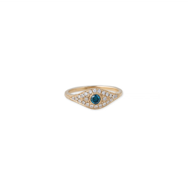 PAVE EYE RING WITH BLUE DIAMOND CENTER