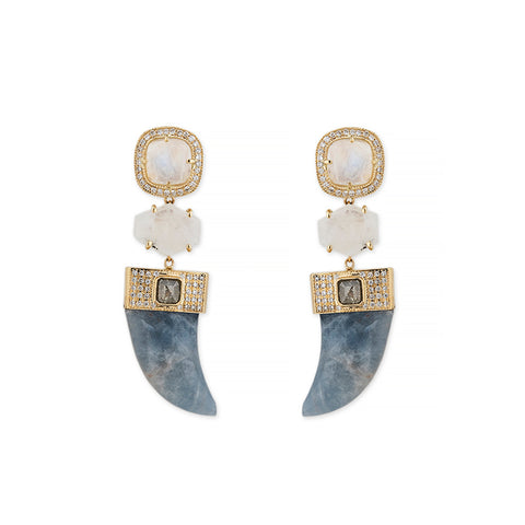 PAVE MOONSTONE + LABRADORITE TUSK DIAMOND EARRINGS