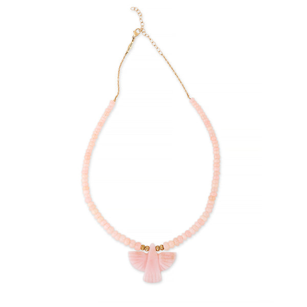 PINK OPAL THUNDERBIRD DIAMOND RONDELLE BEADED NECKLACE