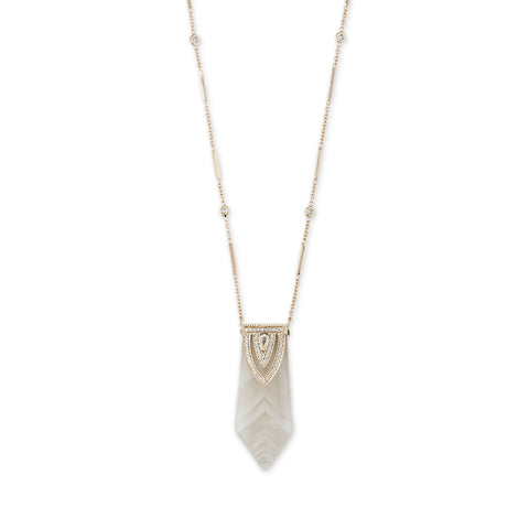 POINTED PHANTOM QUARTZ ALADDIN TEARDROP DIAMOND CAP NECKLACE
