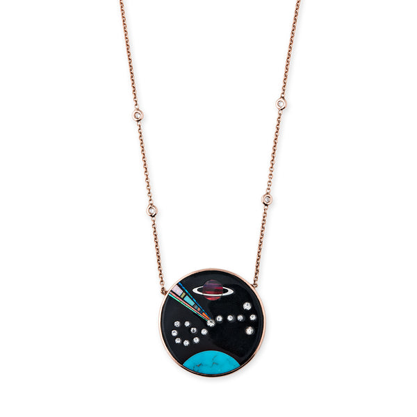 ROUND DIAMOND GALAXY SCORPIO INLAY NECKLACE