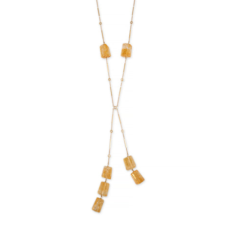 CITRINE BERYL BOLO DIAMOND SMOOTH BAR NECKLACE