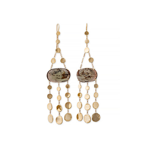 SUNSTONE DISC CHANDELIER EARRINGS