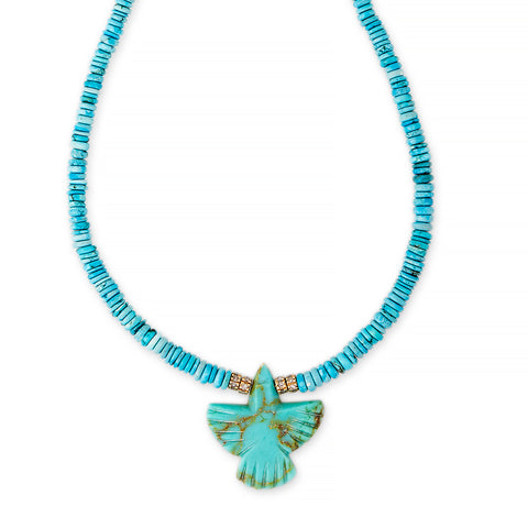 TURQUOISE THUNDERBIRD DIAMOND RONDELLE BEADED NECKLACE