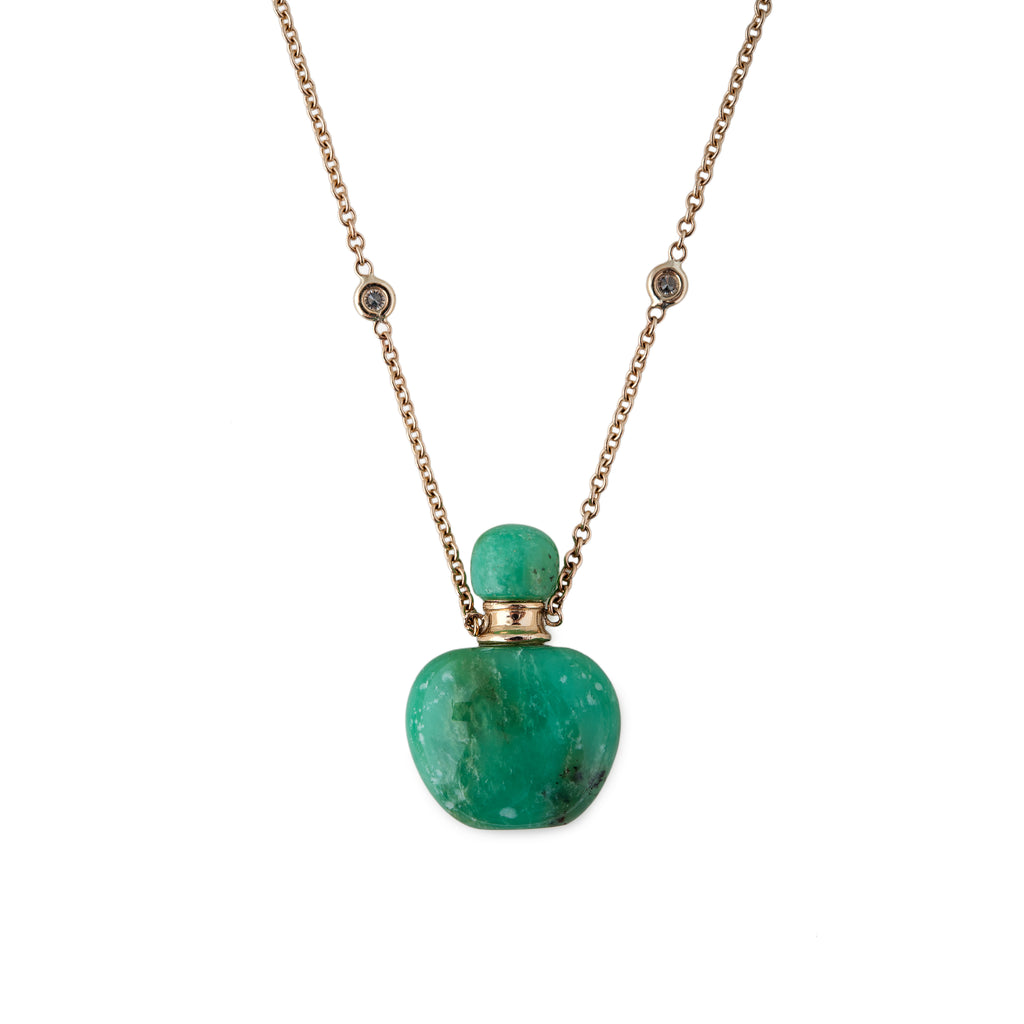 chrysopras made necklace product the playing from diamonds with of pendant collection oraspringjewelry ora spring betel chrysoprase cosmos and diamond gold