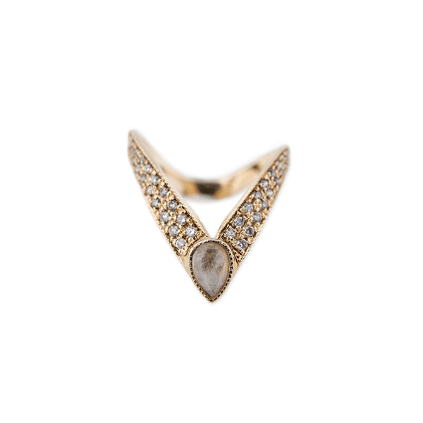 MOONSTONE TEARDROP LARGE V RING