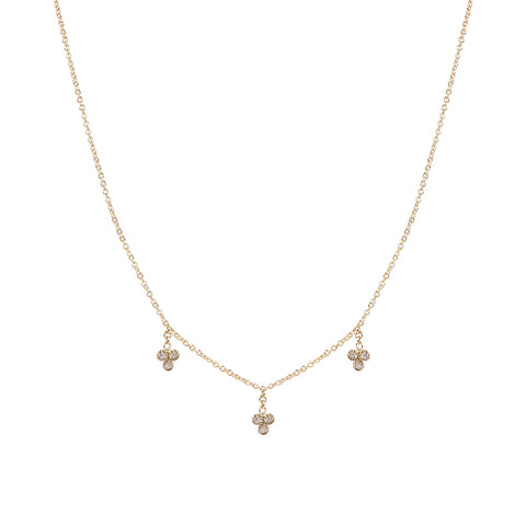 3 DIAMOND CLUSTER DROP NECKLACE