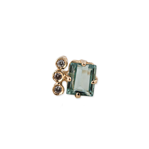 3 DIAMOND GEMSTONE BAGUETTE STUD