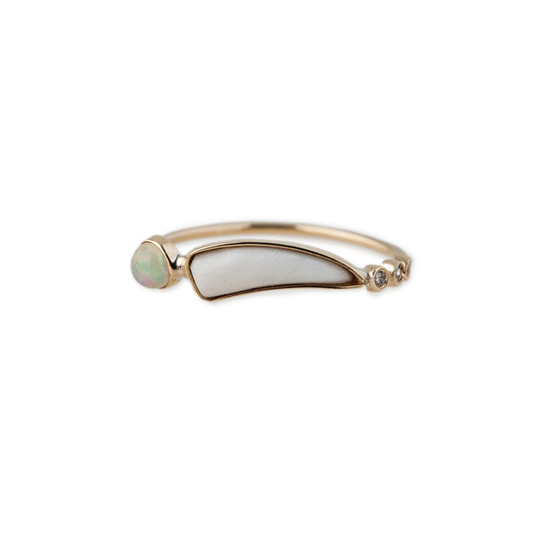 3 DIAMOND BONE TUSK AND OPAL RING