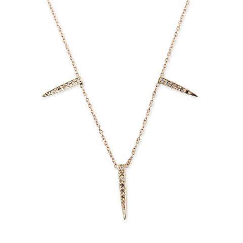3 PAVE ICE PICK NECKLACE