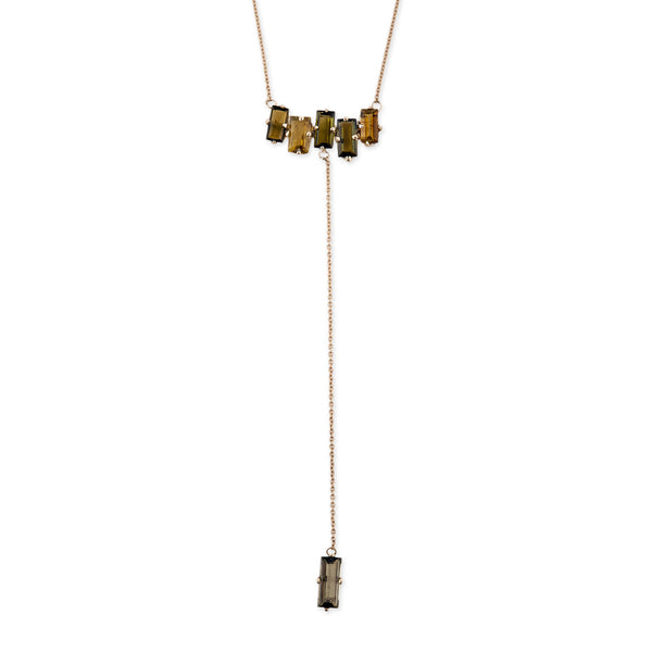 6 GREEN TOURMALINE BAGUETTE Y NECKLACE