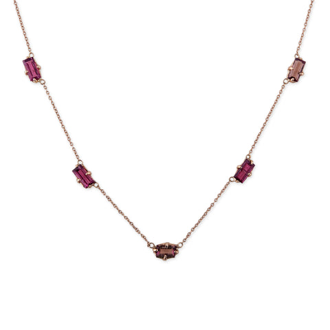5 PINK TOURMALINE BAGUETTE NECKLACE