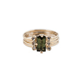 6 DIAMOND GREEN TOURMALINE BAGUETTE MULTI WAIF RING
