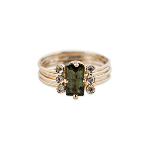 GREEN TOURMALINE BAGUETTE MINI MULTI WAIF RING