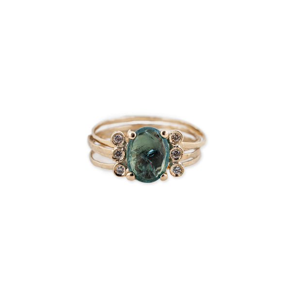 FREEFORM GREEN TOURMALINE MINI MULTI WAIF RING