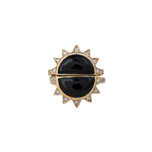 PAVE HALF ROUND SUN STACK RING