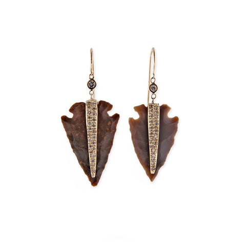 BROWN AGATE ARROWHEAD EARRINGS