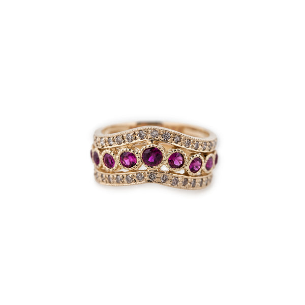 DOUBLE V BIRTHSTONE RING