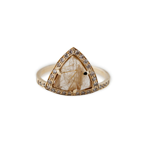 RUTILATED QUARTZ TRIANGLE PYRAMID STACK RING