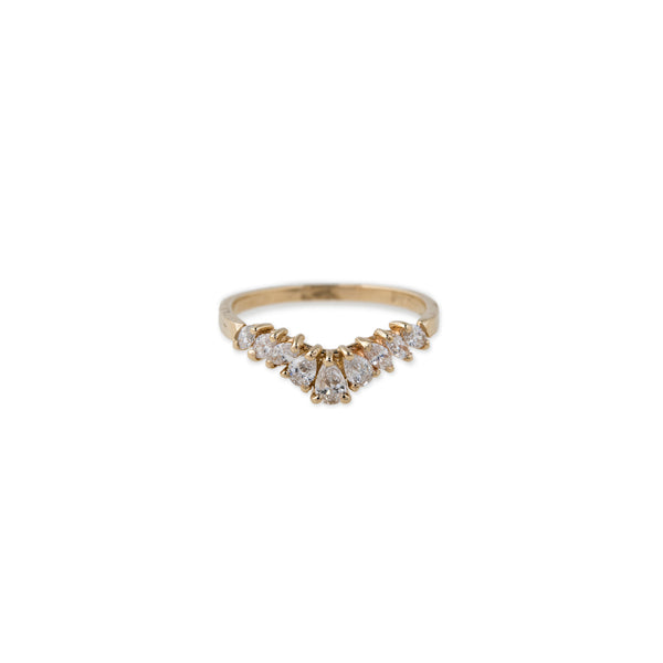 MARQUISE AND TEARDROP DIAMOND CURVED BAND