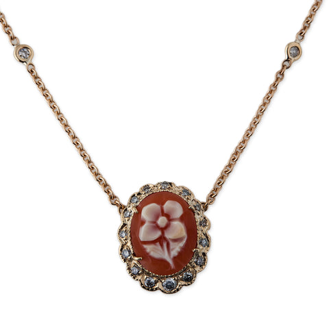 ORANGE DAISY CAMEO NECKLACE