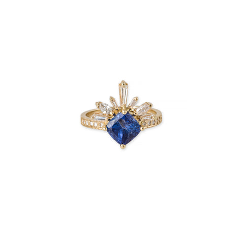 KITE TANZANITE BAGUETTE MARQUISE DIAMOND LASH RING