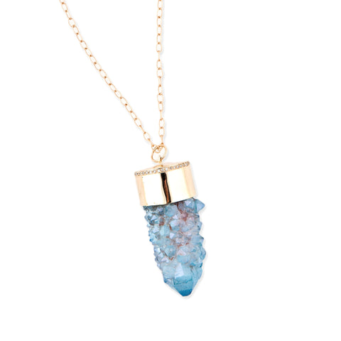 BLUE FAIRY DRUZY CRYSTAL NECKLACE