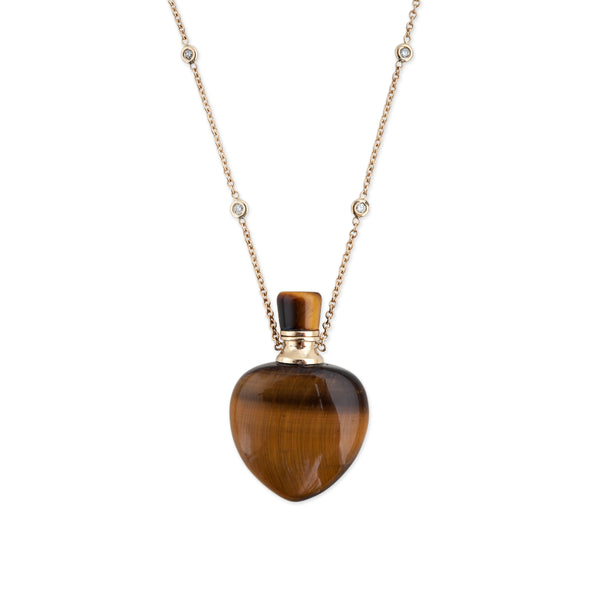 TIGERS EYE MEDIUM HEART POTION BOTTLE NECKLACE