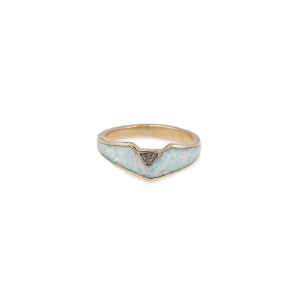 OPAL INLAY TRILLION STACK RING