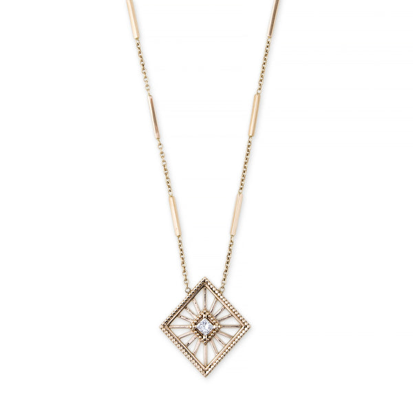 OPEN KITE SQUARE DIAMOND SMOOTH BAR NECKLACE